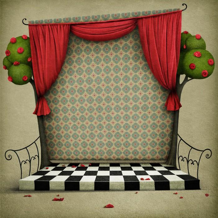 Papier peint chambre avec rideaux rouges et papier peint for Kitchen cabinets lowes with poser papier peint