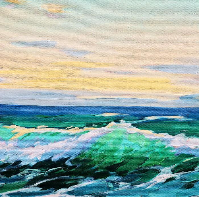 Top Carta da Parati Paesaggio di mare, dipinto di olio su tela  HU01