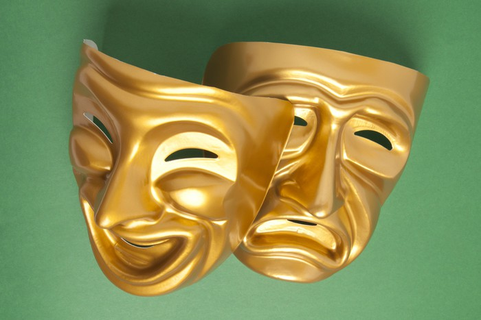 Comedy and Tragedy theatrical mask Wall Mural • Pixers® • We live to ...