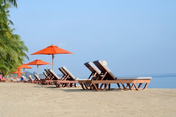 Deckchairs on the shore Vinyl Wallpaper - Islands