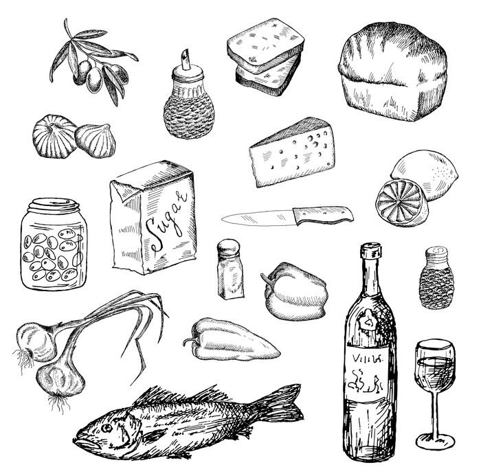 Vinylová Tapeta Ryby a jiné potraviny - Značky a symboly