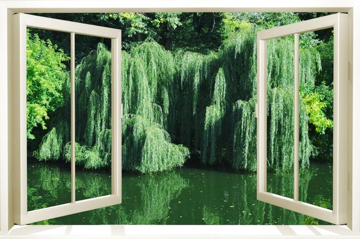Carta da parati finestra nella natura pixers viviamo for Finestra nella dacia
