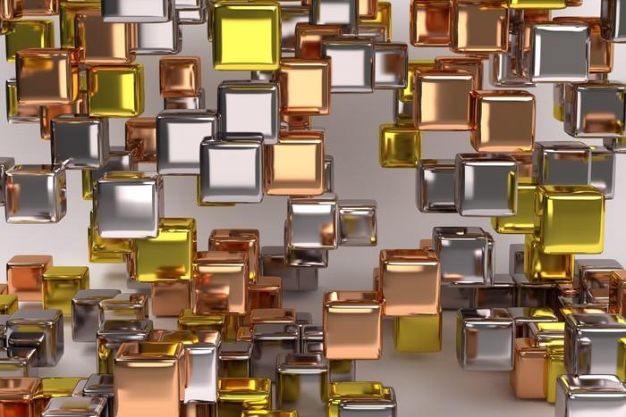 Carta da parati composizione astratta con i cubi di for Carta da parati oro e argento