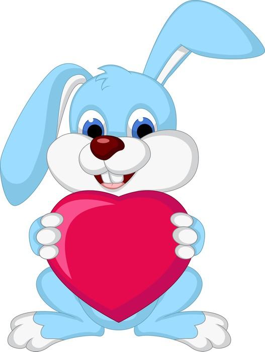 Adesivo Pixerstick Amore partecipazione del coniglio del fumetto di cuore -  Mammiferi 35d3e6f06b56