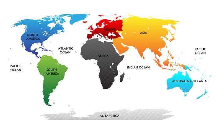 Carta da parati mappa del mondo con continenti evidenziati for Carta da parati cartina geografica