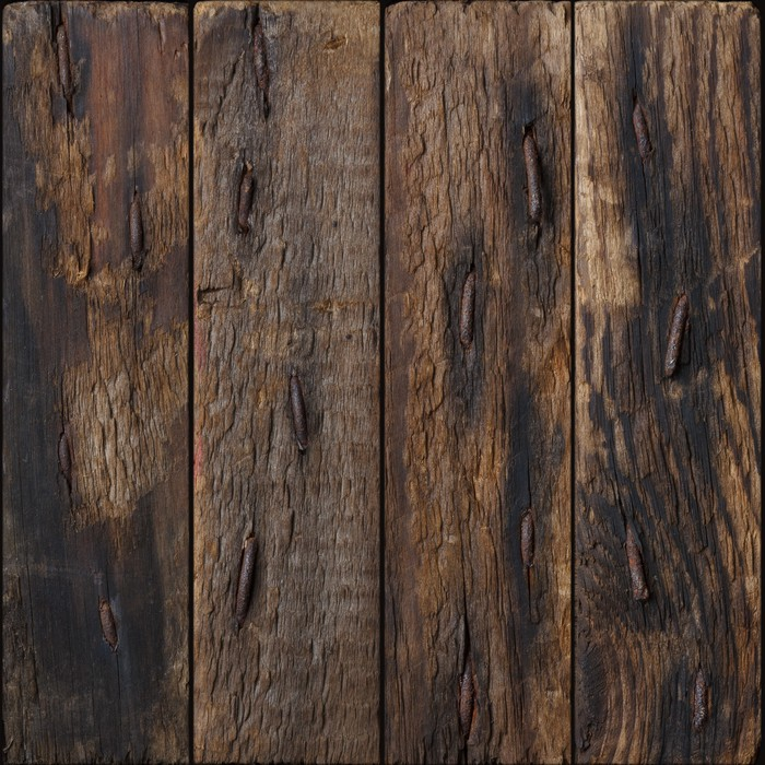 Dark Rustic Wooden Planks With Rustic Nails Background Wall Mural