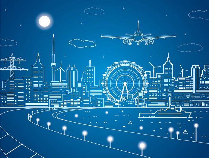 Vinylová Tapeta Letadlo je v přistát, město noci, loď na vodě - Vzduch