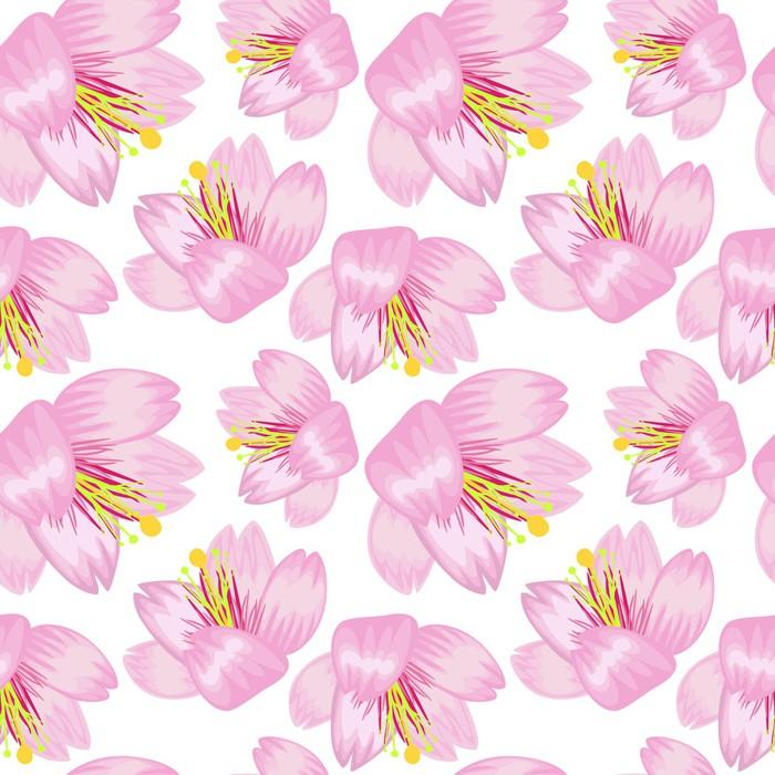 Vinylová Tapeta Bezešvé vzor sakura - Květiny