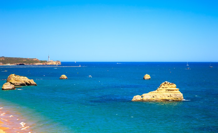 Vinylová Tapeta Rock Beach Praia da Rocha v Portimao. Algarve. Portugalsko - Evropa