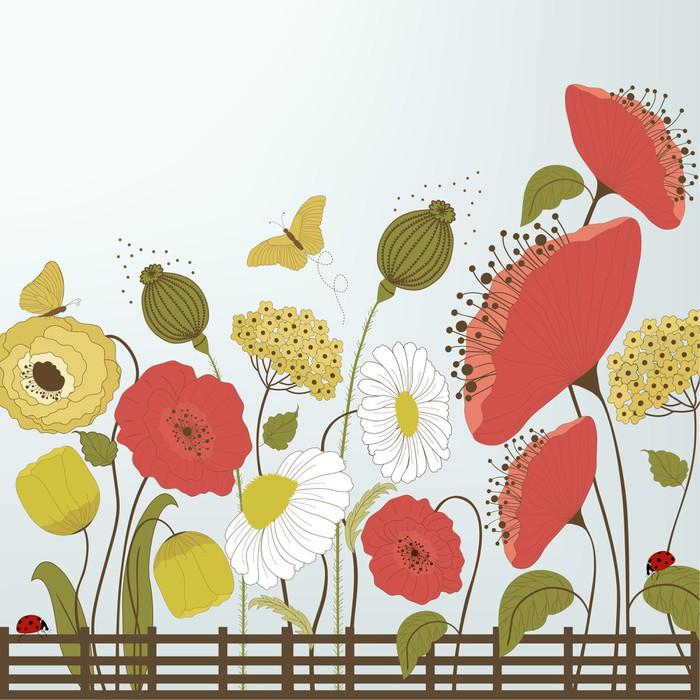 papier peint motifs fleurs de printemps et les papillons. Black Bedroom Furniture Sets. Home Design Ideas