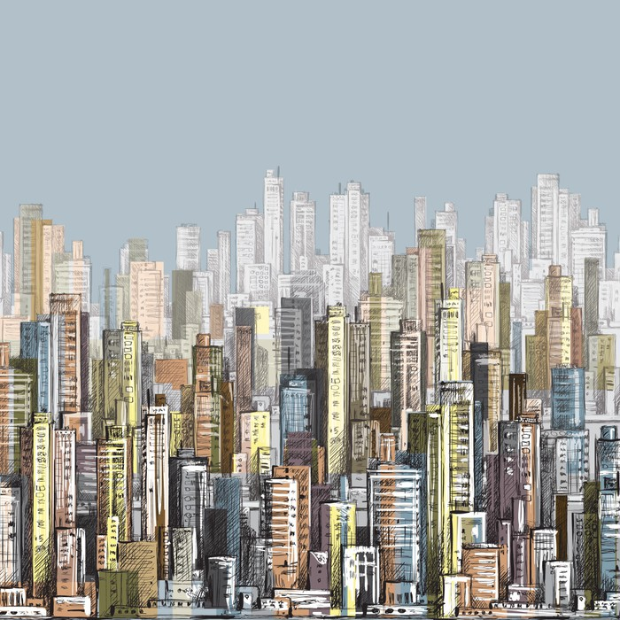 Cityscape Hand Drawn Vector Wall Mural Pixers We Live To Change