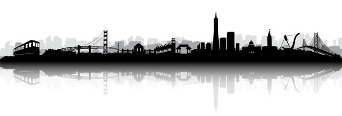 san francisco skyline silhouette vector sticker pixers we live
