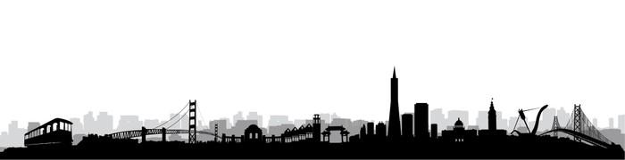 san francisco skyline silhouette vector wall mural pixers we