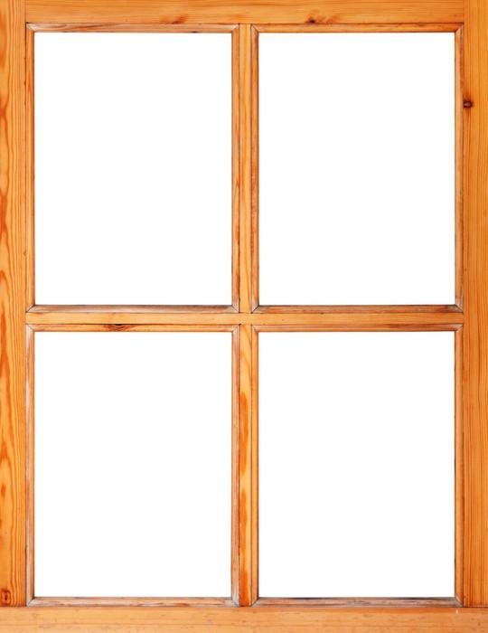 Vinilo Pixerstick Marco de la ventana de madera aislado en el fondo ...