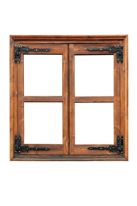 sticker fen tre battants en bois avec sangle d corative charni res isol pixers nous. Black Bedroom Furniture Sets. Home Design Ideas