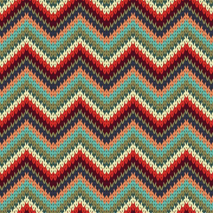 Seamless Zigzag Knitting Pattern Vector Illustration Wall Mural