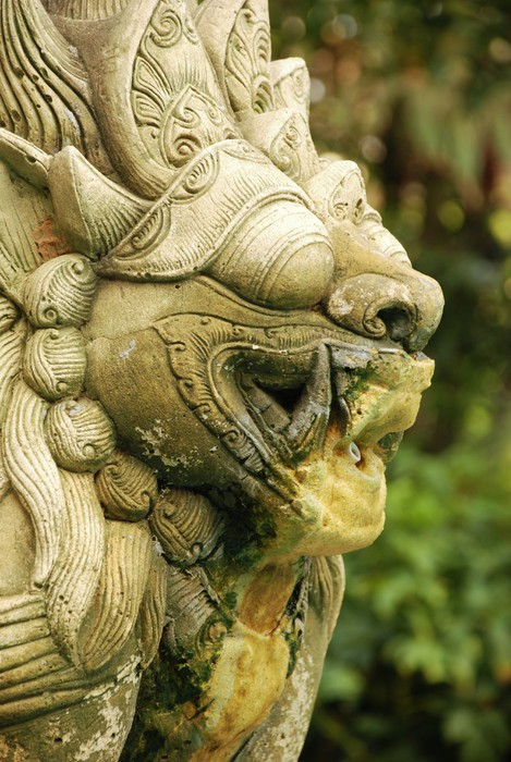 Sand stone lion fountain, exotic Indonesian design Wall Mural ...