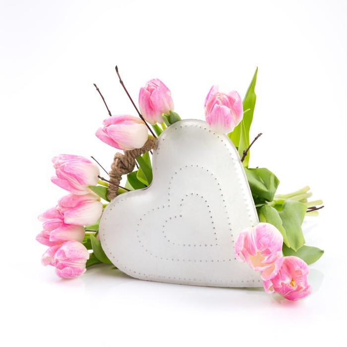Fototapete Blumen umrahmen weißes Herz • Pixers® - Wir leben, um zu ...