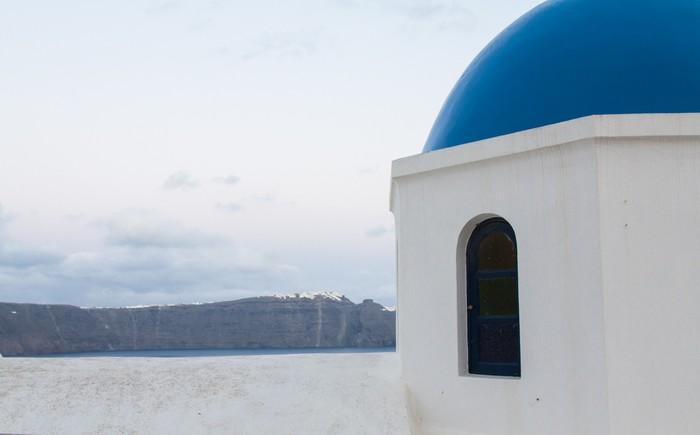 Vinylová Tapeta Scéna z Oia vesnice na ostrově Santorini - Památky