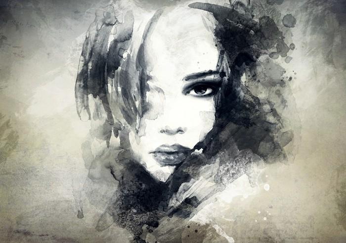 Nálepka na Stůl a Pracovní Stůl Abstraktní žena, portrét -