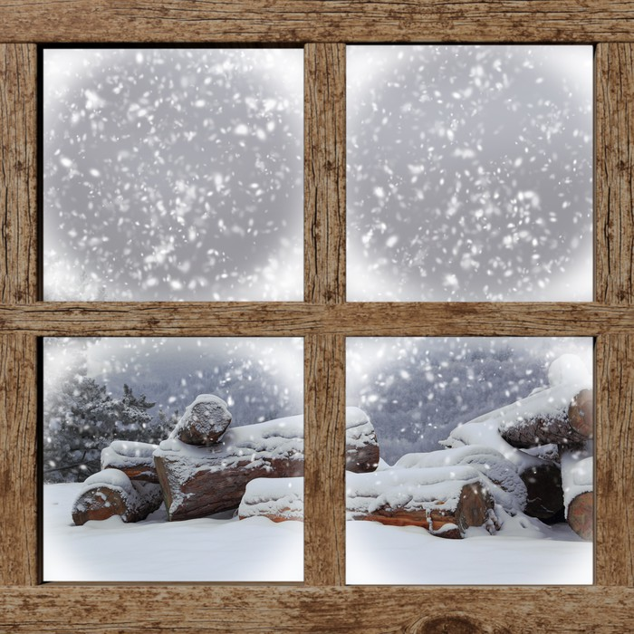 Winter Outdoors View With Firewood Pile From Wooden Window Wall