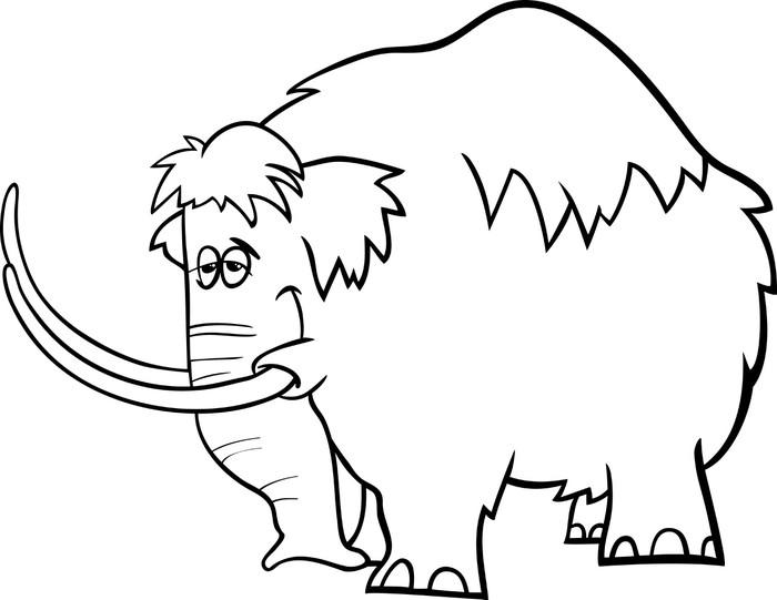 Fotomural Página para colorear de dibujos animados de mamut • Pixers ...