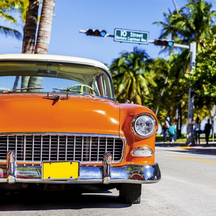 Carta da parati classic car americana a south beach miami for Parati classici