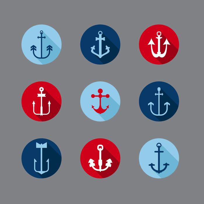 Vinylová Tapeta Sada Kotevní Nautical Icons - pro loga, design, zápisníku - Značky a symboly