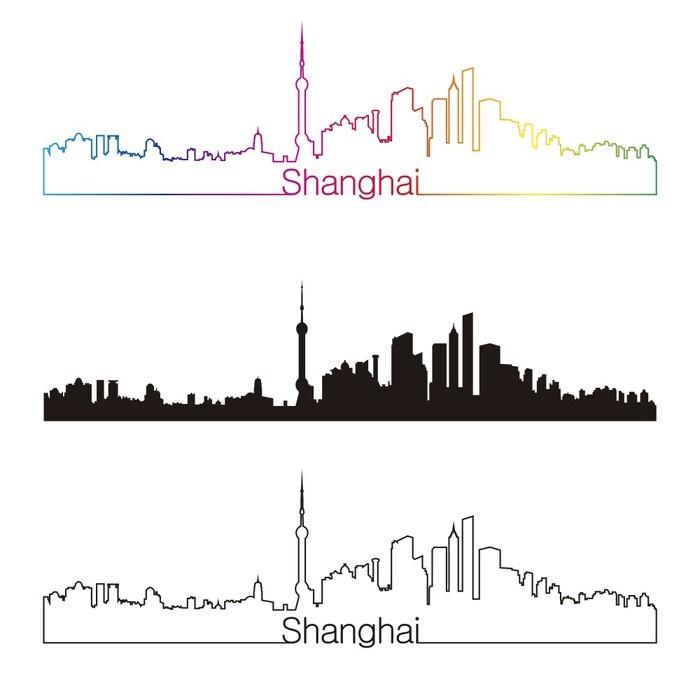 Vinylová Tapeta Shanghai panorama lineární styl s duhou - Asijská města