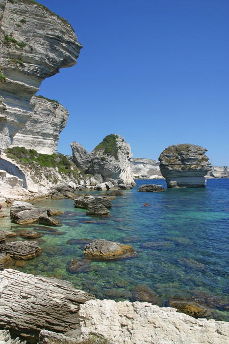 Vinylová Tapeta Cliff of Bonifacio - Voda