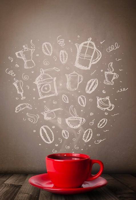 Fototapete Kaffeetasse Mit Hand Gezeichnet Zubehör Für Die Küche