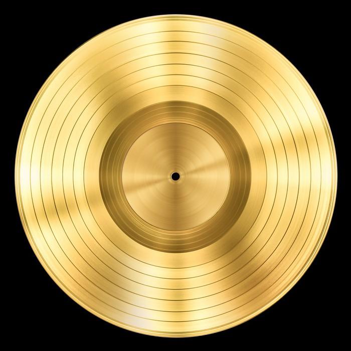 Fototapete Goldene Schallplatte Musik-Disc Award isoliert auf ...