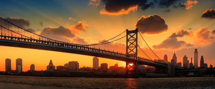 Panorama Of Philadelphia Skyline Ben Franklin Bridge And