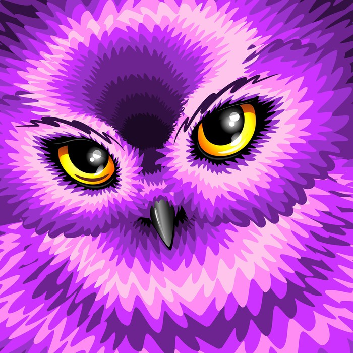Vinylová Tapeta Růžové Owl Eyes - Imaginární zvířata