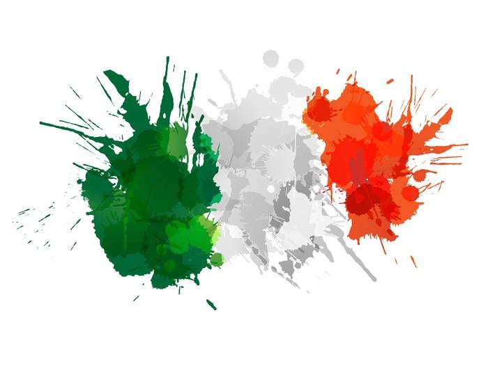 Papier Peint Vinyle Drapeau italien faite de taches colorées - Europe