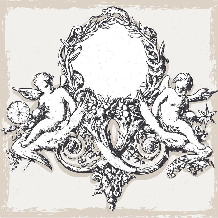 Vinylová Tapeta Vintage květinový rám s anděly - Obchody
