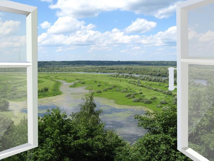 Tableau sur toile fen tre ouverte sur le paysage d 39 t for Fenetre ouverte sur paysage