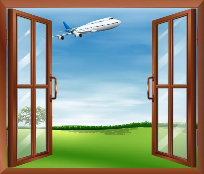 Papier peint une fen tre ouverte en vue de l 39 avion for Une fenetre ouverte