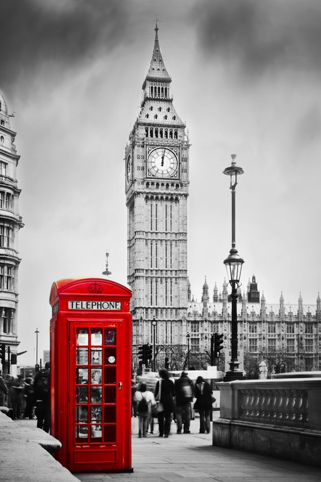 Red telephone booth and big ben in london england the uk vinyl wall