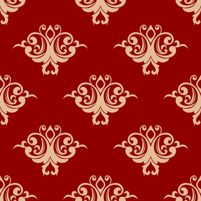 Vinylová Tapeta Červená na béžové květinové bezproblémové vzorek - Pozadí