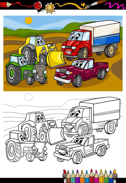 Fotomural Coches de dibujos animados y camiones para libro para ...