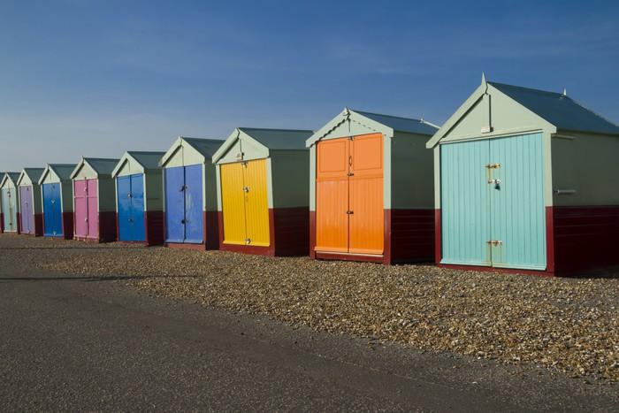 papier peint cabines de plage la mer pixers nous vivons pour changer. Black Bedroom Furniture Sets. Home Design Ideas