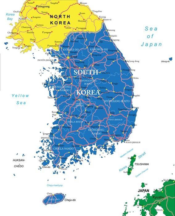 karta sydkorea Fototapet Sydkorea karta • Pixers®   Vi lever för förändring karta sydkorea