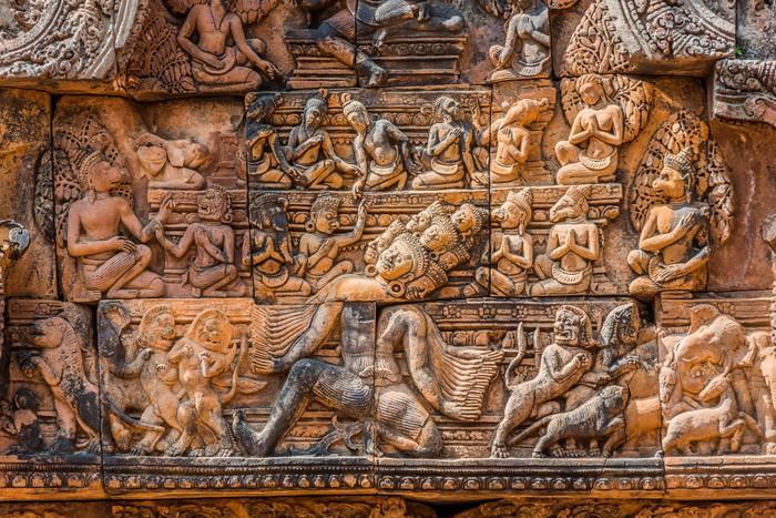 Vinylová fototapeta Překlad carving Ravana bůh Banteay Srei hinduistický chrám růžový cambodi - Vinylová fototapeta