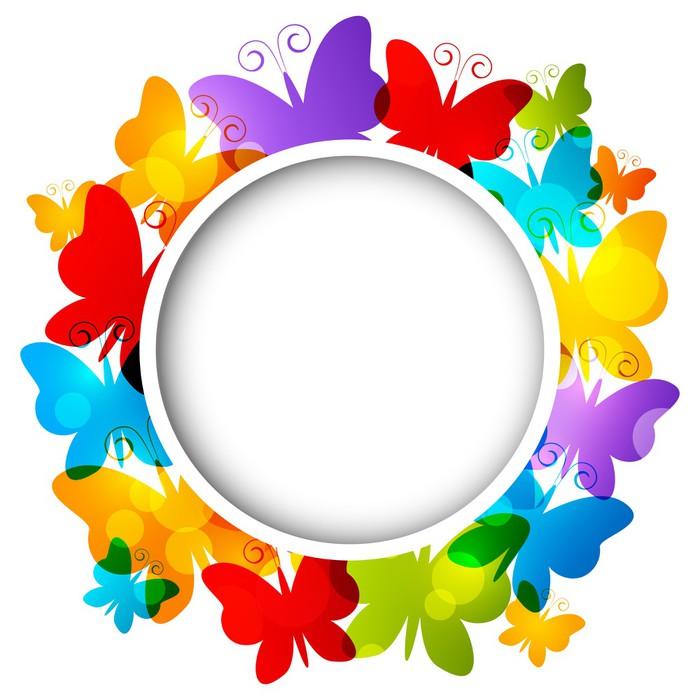 Vinilo Pixerstick Rainbow marco mariposas para su diseño • Pixers ...