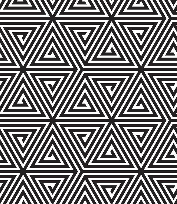 Autocolante para Frigorífico Triangles, Black and White Abstract Seamless Geometric Pattern, - Temas