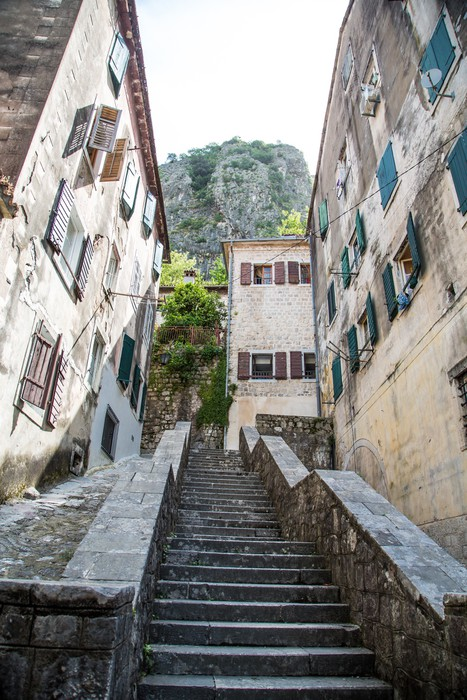 Stone Steps Up Narrow Alley In Kotor Vinyl Wall Mural   Themes