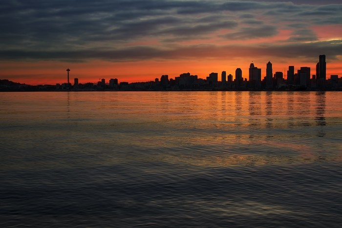 Seattle Skyline At Dawn Wall Mural Pixers 174 We Live To