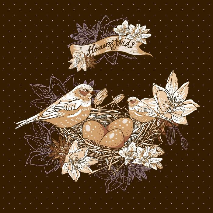 papier peint vintage fond floral avec les oiseaux et nid pixers nous vivons pour changer. Black Bedroom Furniture Sets. Home Design Ideas
