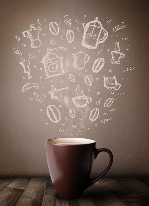 fototapete kaffeetasse mit hand gezeichnet zubeh r f r die k che pixers wir leben um zu. Black Bedroom Furniture Sets. Home Design Ideas